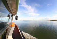 Boat ferry for transporting passengers in Venice Stock Image