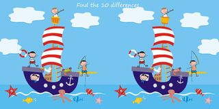 Boat, find ten differences. Sailboat, children and animals at sea. Puzzle for the children Royalty Free Stock Photo