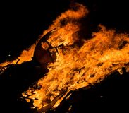 Boat on fire. Boat on bonfire Stock Image