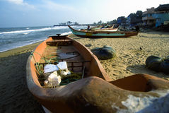 Boat of fisherman on the beach. Boat of fisherman on seaside with blue sky Stock Photos