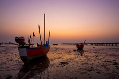 Boat. Fisherman life in sunset thailand Royalty Free Stock Photo