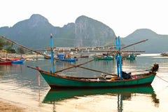 Boat in fisherman village Stock Images