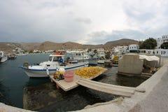 Boat fishermen. Fishermen from island of Folegandros 2015 Royalty Free Stock Photography