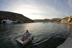 Boat fishermen. Fishermen from island of Sifnos 2015 Royalty Free Stock Photo