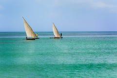 Boat fishermen Zanzibar Stock Image