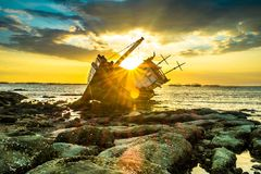 Boat. Fishing boats, sun, sky, boat, sea Royalty Free Stock Image