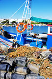 Boat and fishing equipments Stock Images