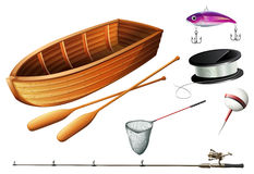 Boat and fishing equipments. Illustration Stock Photography