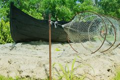 Boat with fishing net. In the east of Romania Royalty Free Stock Photos