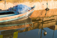Boat with fishing nets Royalty Free Stock Image
