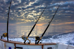 Boat fishing rods Royalty Free Stock Photo