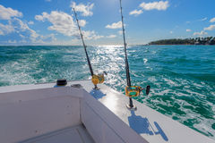 Boat fishing rods Royalty Free Stock Photos