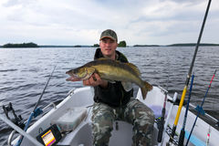 Boat fishing after walleye Stock Photography