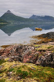 Boat in fjord Stock Photo
