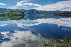 Boat on a Fjord Bay in Norway royalty free stock photo