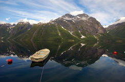 Boat on the fjord in Eikesdal Royalty Free Stock Photography