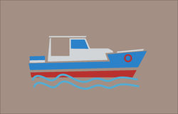 Boat flat colors Stock Photos