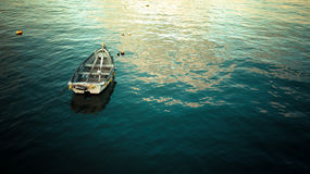 Boat on flat water Royalty Free Stock Photos