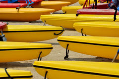 Boat floater on sand. Many boats floater arrange as line on sand, shown as marine sport and entertainment or enjoy Stock Photos