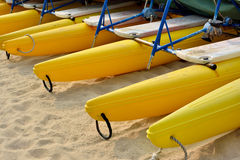 Boat floater on sand. Many boats floater covered on sand, shown as marine sport and entertainment environment Royalty Free Stock Photos