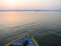 Boat floating on Kongka River, India Stock Photos