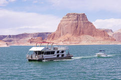 Boat floating in Lake Powell, Utah Royalty Free Stock Photo