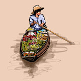 Boat in a floating market in Thailand Royalty Free Stock Photography