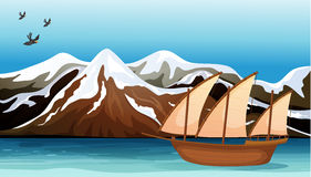 A boat floating near the mountain area. Illustration of a boat floating near the mountain area with sea birds flying Stock Image