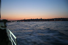 Boat Floating Over Bosphorus Stock Images