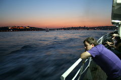Boat Floating Over Bosphorus Stock Photos