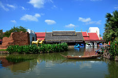 Boat floating in pond at Thung Bua Chom floating market Royalty Free Stock Photo