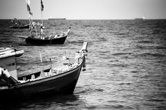Boat floating in the sea of Thailand, Black and white conception Stock Images
