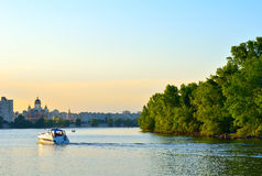 The boat floats on the Dnieper River Stock Photography