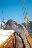Boat floats near the shore Royalty Free Stock Photography