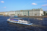 Boat floats on the River Neva by Hermitage Stock Photo