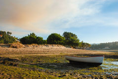 Boat. On the floor at low tide Stock Images