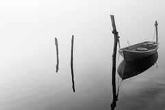 Boat in the fog Royalty Free Stock Photo