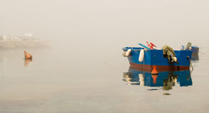 Boat. And fog in Adriatic Sea, Puglia (Italy Royalty Free Stock Photos
