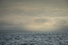 Boat in fog in ocean, Arcachon bay, Gironde, France stock photo