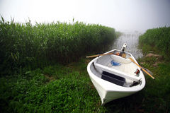Boat on a foggy day Stock Image