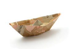Boat folded of euro note Stock Photography