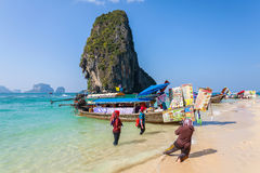Boat food stalls on Railay beach. Stock Images