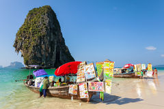 Boat food stalls on Railay beach. Royalty Free Stock Photos