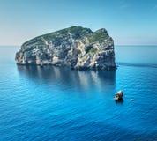 Boat by foradada island Royalty Free Stock Image