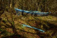 Boat in forest. Deserted blue row boat among trees Royalty Free Stock Photos