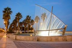 Boat fountain at the Malvarrosa beach Valencia, Spain stock images