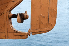 Boat fragment: propeller and rudder Royalty Free Stock Photos