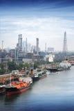 Boat Freight Transportation. And Bangkok city background Royalty Free Stock Image