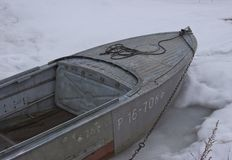 The boat froze. In the river royalty free stock images