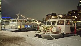Boat in frozen harbor Royalty Free Stock Images